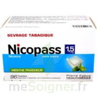 NICOPASS 1,5 mg Past sans sucre menthe fraîcheur Plq/96 à Pessac