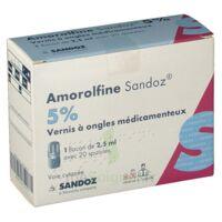 AMOROLFINE SANDOZ 5 % V ongles médicamenteux Fl/2,5ml+20spatules à Pessac